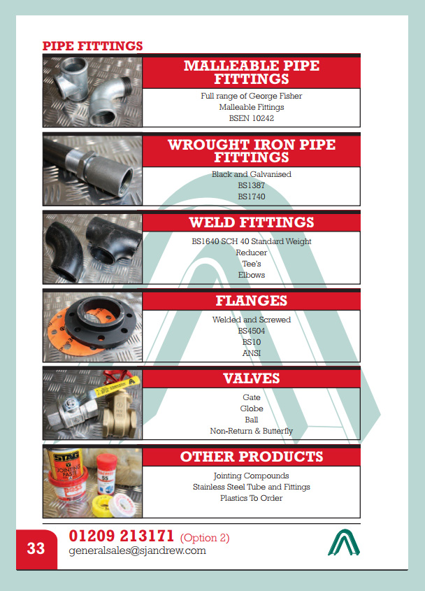 Pipe Fittings, Flanges and Valves