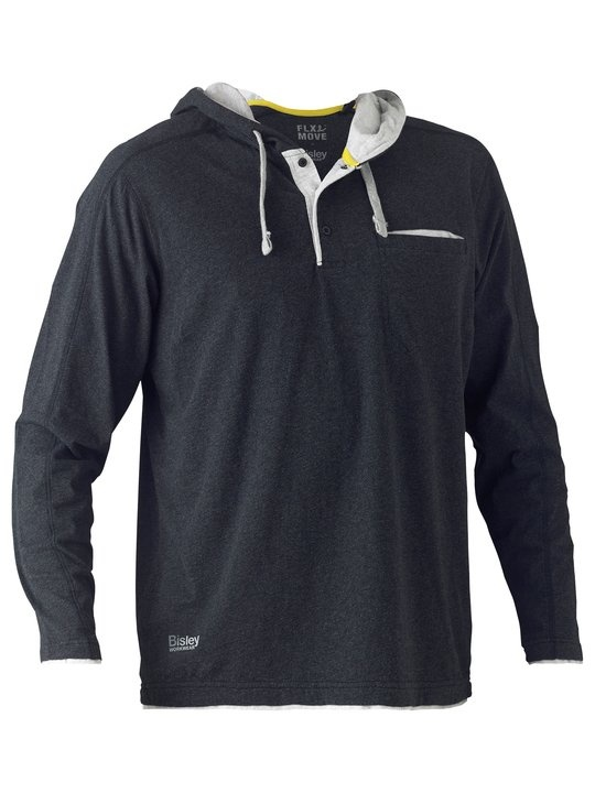 Bisley Flex & Move Charcoal Cotton Hooded Long Sleeve T-Shirt