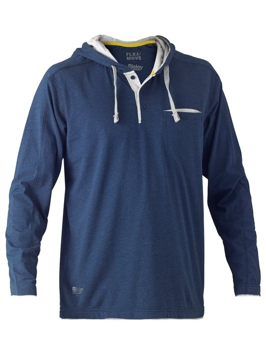Bisley Flex & Move Blue Cotton Hooded Long Sleeve T-Shirt