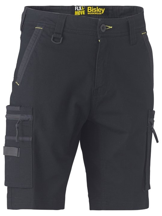 Bisley Flex & Move Black Stretch Utility Zip Cargo Short