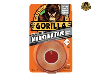 Gorilla Heavy-Duty Double Sided Clear Mounting Tape 25.4mm x 1.52m