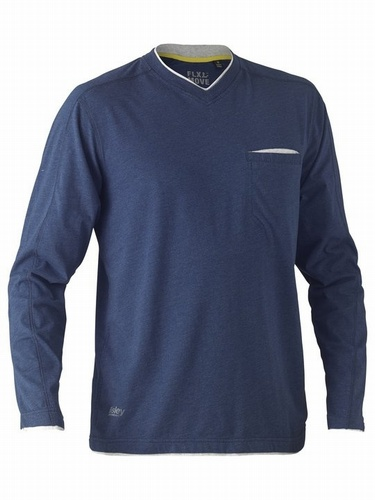 Bisley Flex & Move Blue Cotton V Neck Long Sleeve Shirt