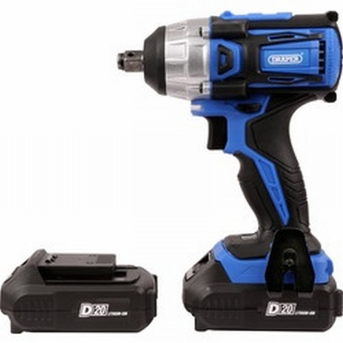 "Draper 20V Brushless 1/2"" Mid-Torque Impact Wrench With 2  Batteries"