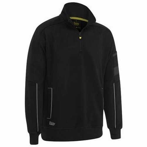Bisley UKK6924 Black Fleece 1/4 Zip Pullover with Sherpa Lining