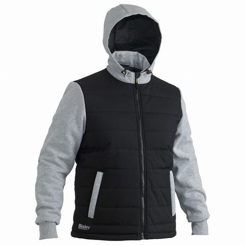 Bisley UKJ6944 Black Flex & Move Hooded Puffer Jacket