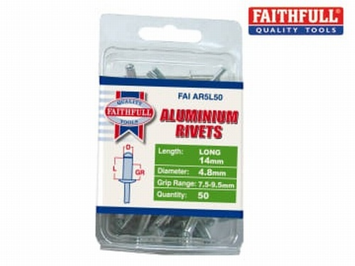 Aluminium Rivets 4.8 x 14mm Long Pre-Pack of 50