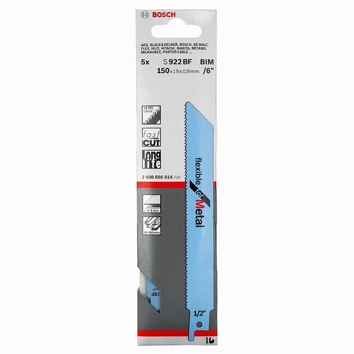 Sabre Saw Blades Pack 5 150mm (Metal) S922BF