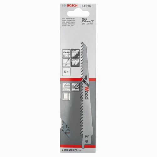 Sabre Saw Blades Pack 5 (Wood) S644D