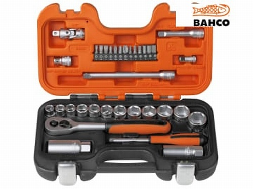 "Bahco 34 Piece 3/8"" Socket & Bit Set with 1/4"" Bits"